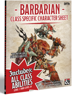 Player's Helper Class Specific Character Sheet - Barbarian