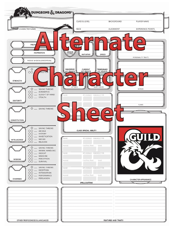 Alternate Character Sheet (2 Page) - Dungeon Masters Guild |  DriveThruRPG com