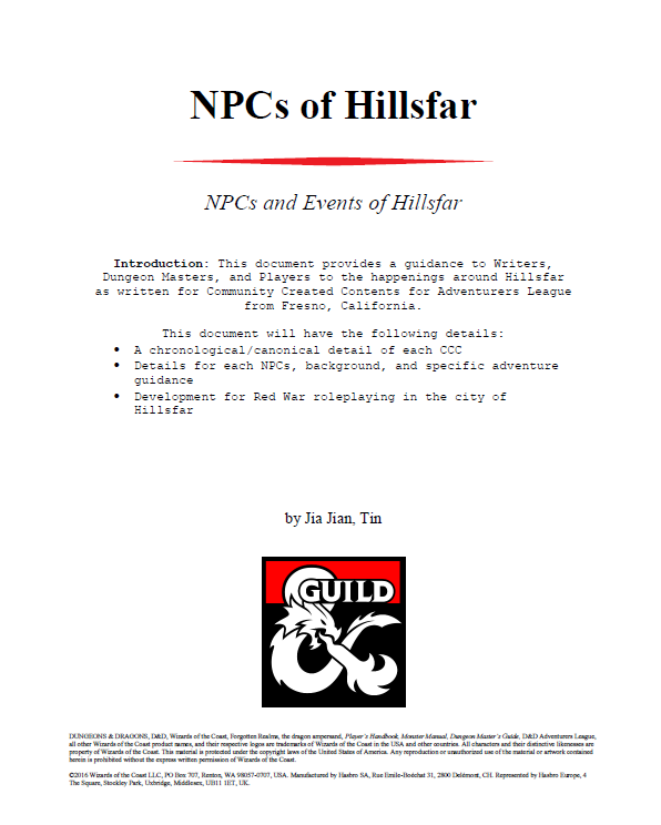 NPCs of Hillsfar (Fresno CCC) - Dungeon Masters Guild | Dungeon