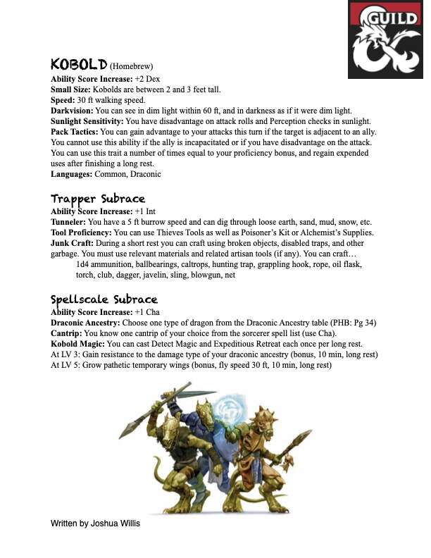 Kobold (Homebrew Race, 5e) - Dungeon Masters Guild   Dungeon