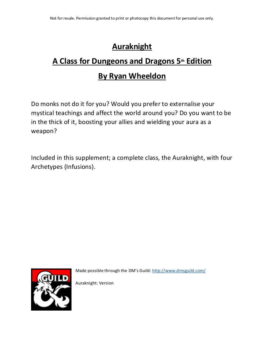 Auraknight - Dungeon Masters Guild   Dungeon Masters Guild