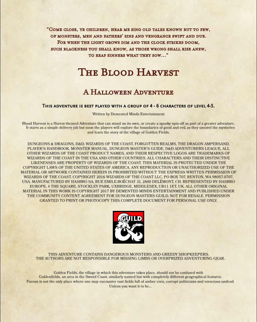 The Blood Harvest 5e Horror Adventure Dungeon Masters Guild Dungeon Masters Guild These were then buried to keep others. the blood harvest 5e horror adventure dungeon masters guild dungeon masters guild