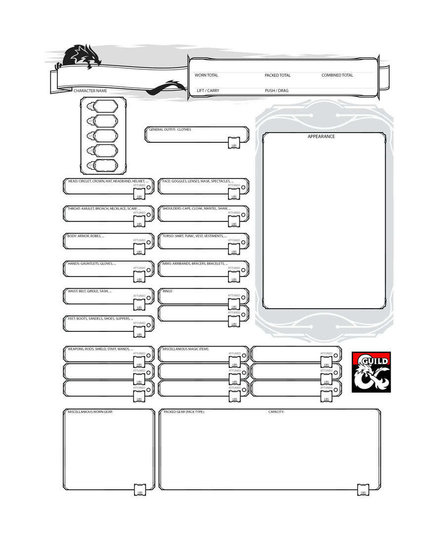 form fillable inventory sheet dungeon masters guild dungeon