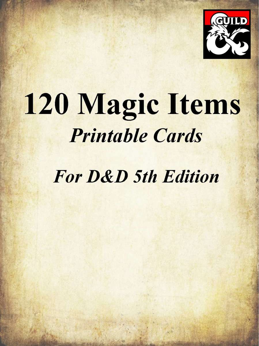 Top Five Printable D&d Magic Item Cards - Circus