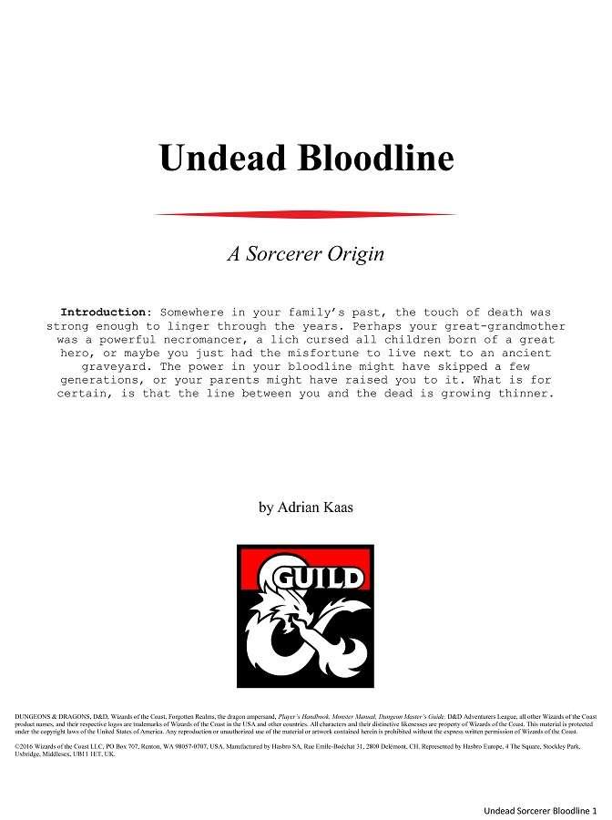 Undead Bloodline - A Sorcerer Origin for 5e (Vers 1