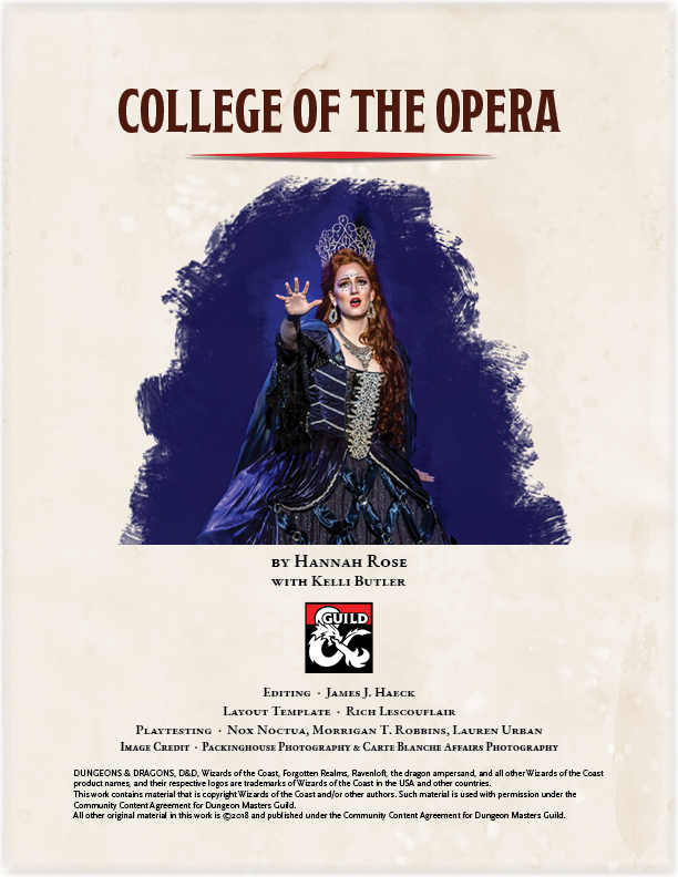 College of the Opera Cover