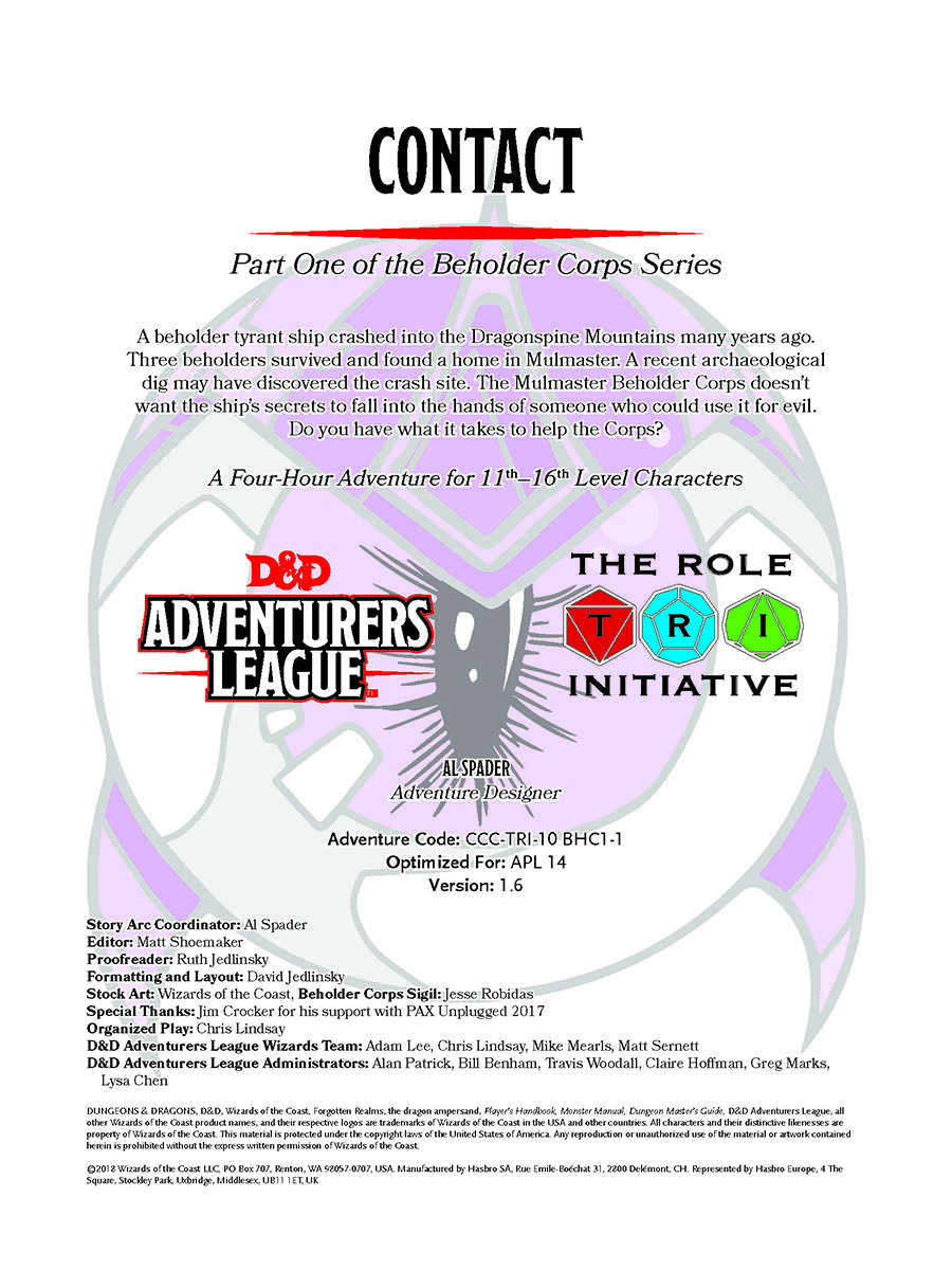 CCC-TRI-10 Contact (Part One of the Beholder Corps Series) - Dungeon