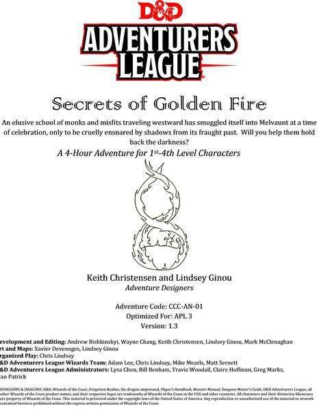 CCC-AN-01 Secrets of Golden Fire cover art