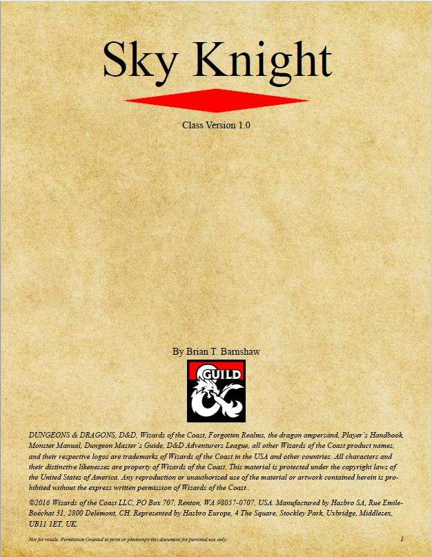 Sky Knight (D&D 5e) - Dungeon Masters Guild | Dungeon