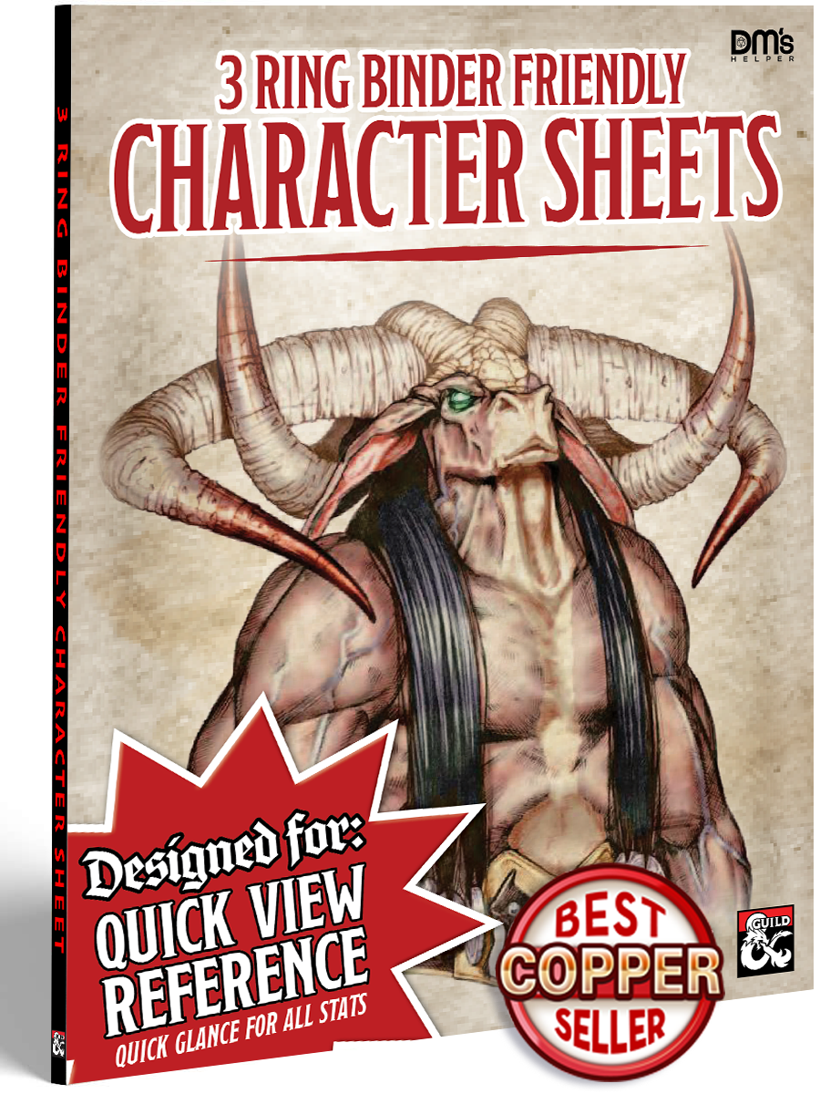 3 Ring Binder Friendly - Quick Reference Character Sheet