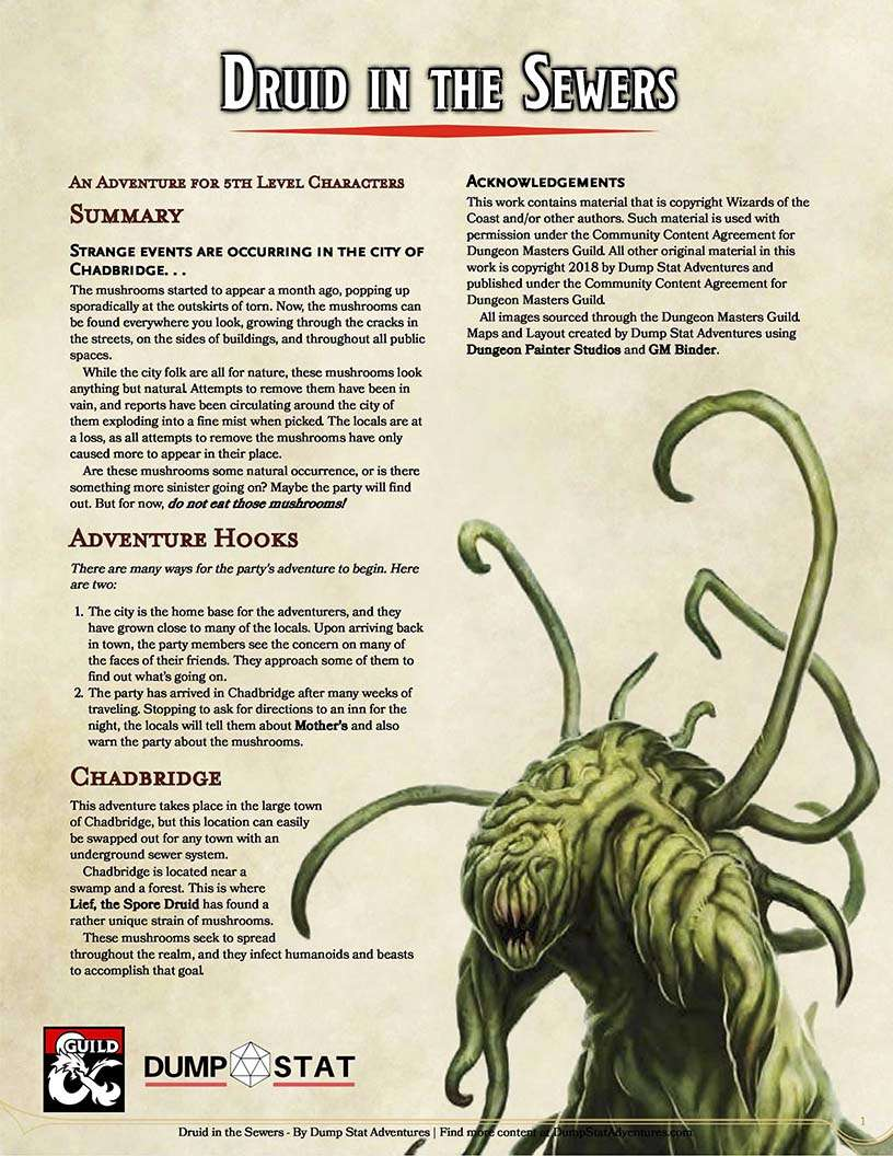 Druid in the Sewers - Dungeon Masters Guild | Dungeon Masters Guild