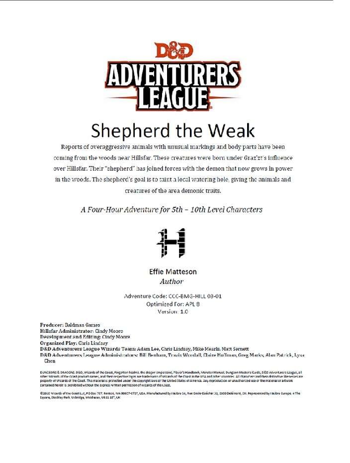 CCC-BMG-46 HILL 3-1 Shepherd the Weak - Dungeon Masters Guild | Wargame  Vault