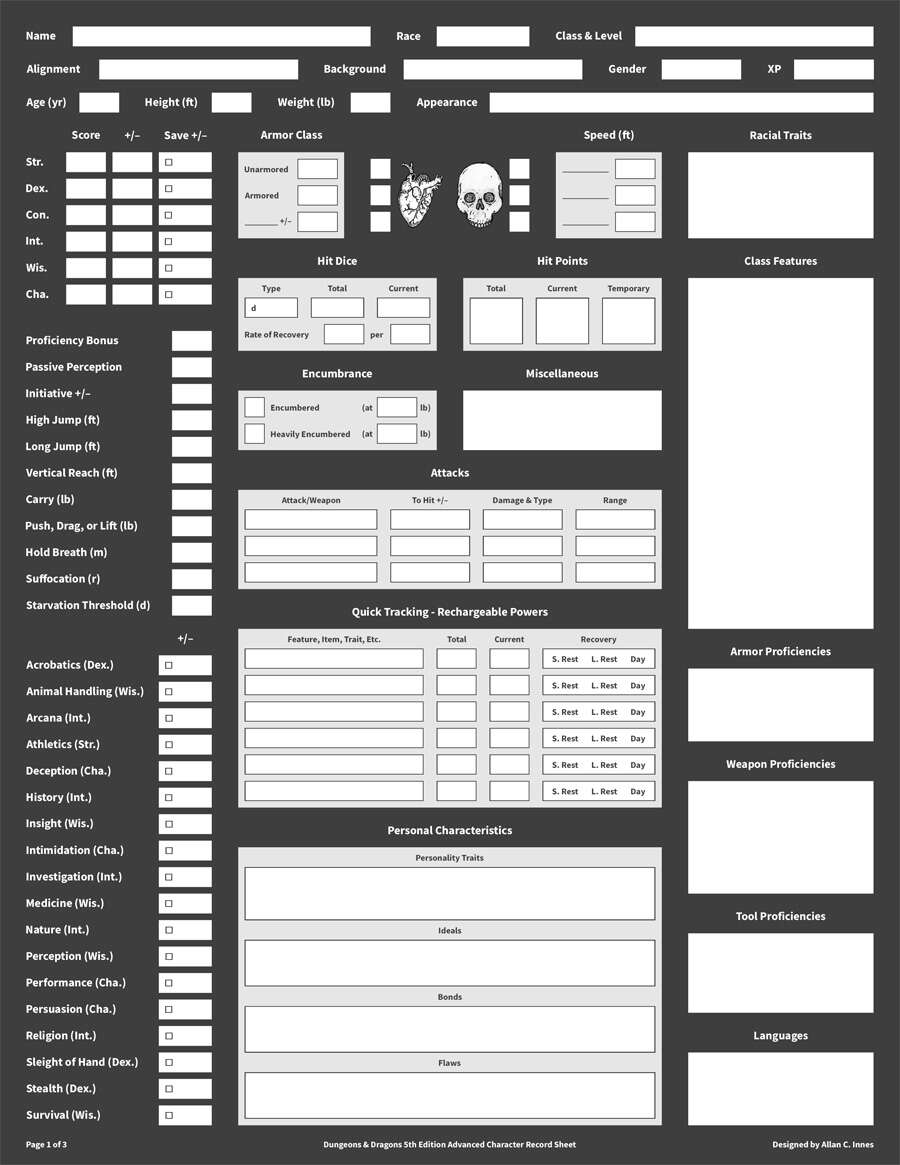 Dungeons & Dragons 5th Edition Character Record Suite