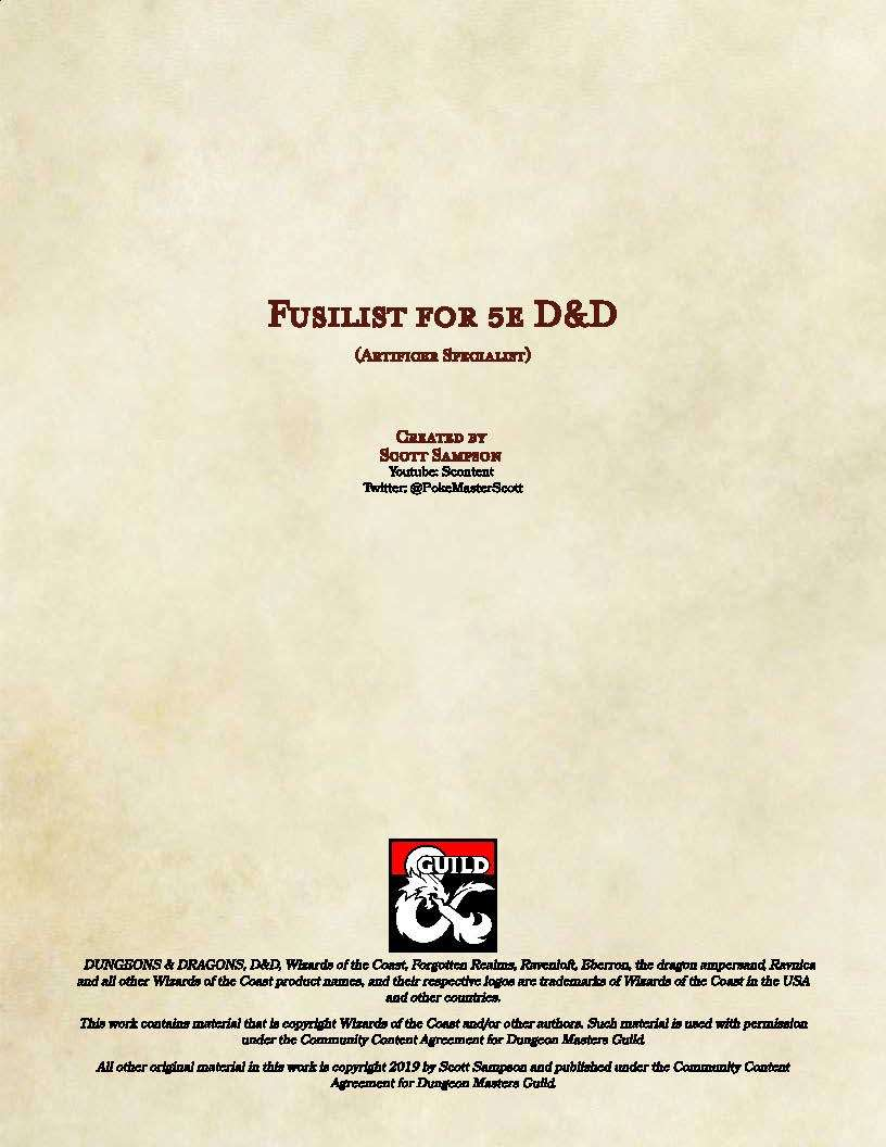 Fusilist Artificer Specialist Dungeon Masters Guild Drivethrurpg Com Complete list of all d&d spells, rulebooks, feats, classes and more! drivethrurpg