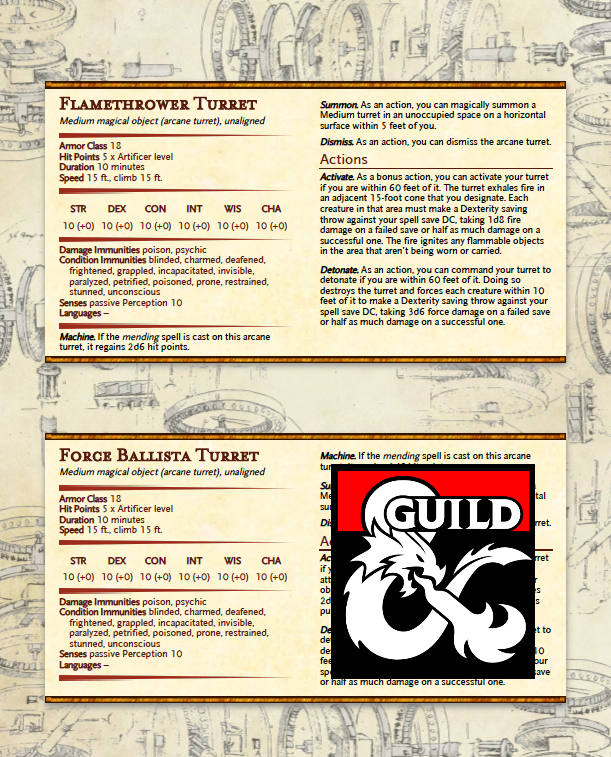 Artificer Pet Stat Blocks Dungeon Masters Guild Drivethrurpg Com These lists exceed the text of the published article. usd