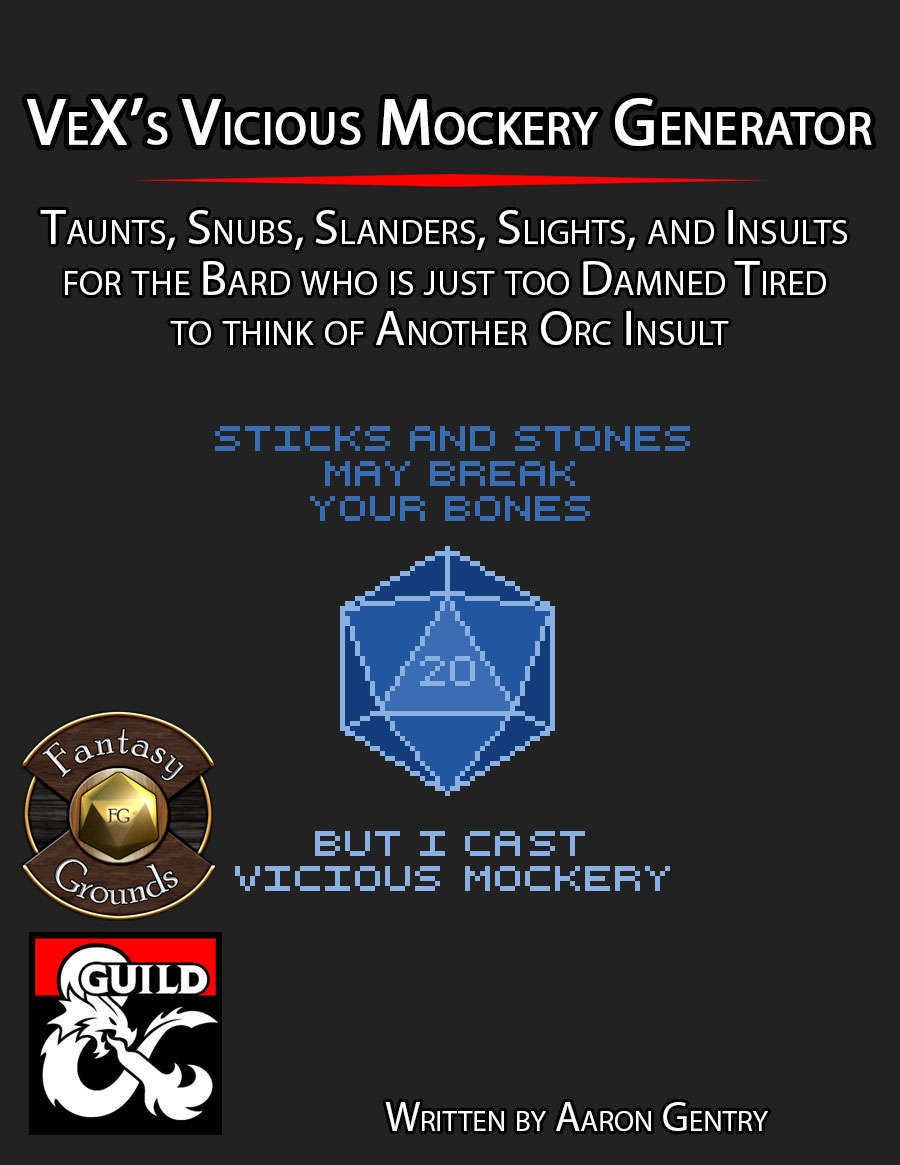 VeX's Vicious Mockery Generator - Dungeon Masters Guild | Dungeon