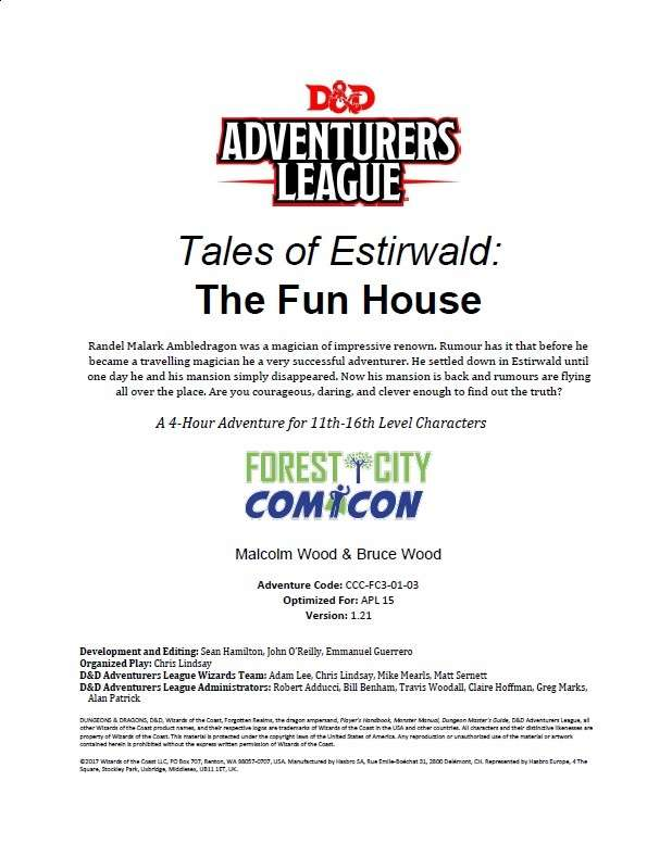 CCC-FC3-03 Tales of Estirwald: The Fun House - Dungeon Masters Guild |  Dungeon Masters Guild