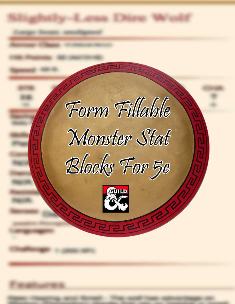 Form Fillable Lesser Monster Stat Blocks for 5th Edition
