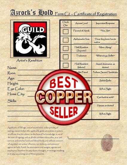 Mad Mage Handout - Level 3 - Azrok's Hold Certificate of Registration -  Dungeon Masters Guild | Dungeon Masters Guild