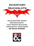 Inventory Quickslot Sheet for 5E