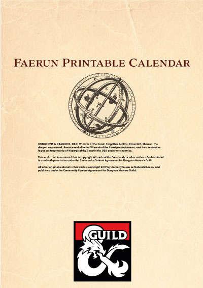 Faerun Calendar.Faerȗn Printable Calendar Dungeon Masters Guild Dungeon Masters Guild