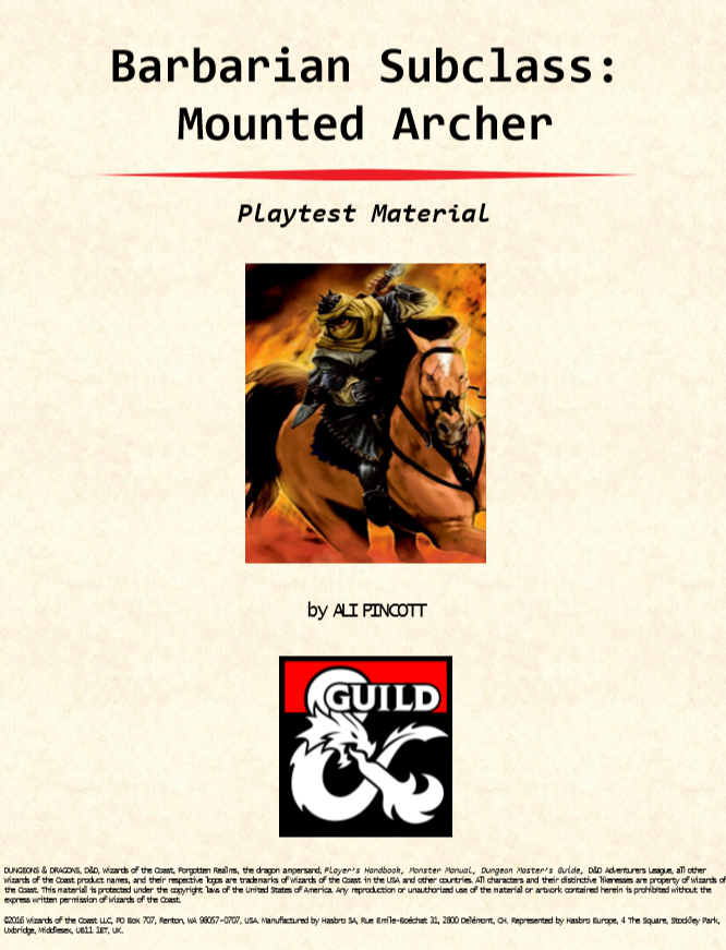 Path of the Mounted Archer: A New Barbarian Subclass