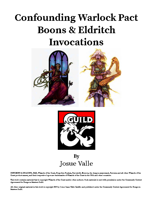Confounding Warlock Pact Boons - Dungeon Masters Guild | Dungeon Masters  Guild