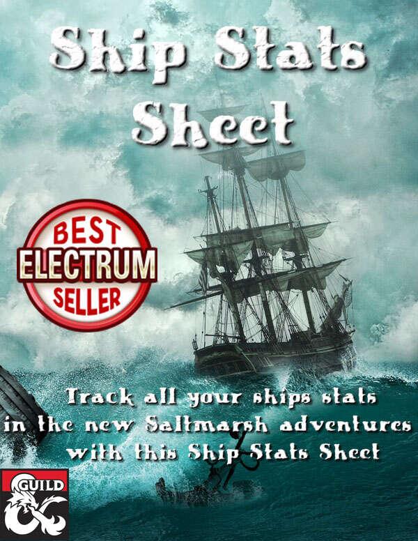 Saltmarsh Ship Stats Sheet - Dungeon Masters Guild | Dungeon