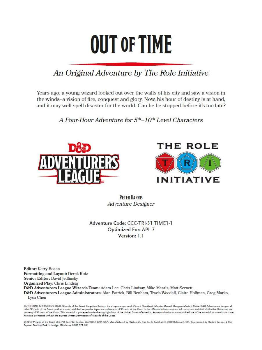 CCC-TRI-31 Out of Time - Dungeon Masters Guild | Dungeon Masters Guild