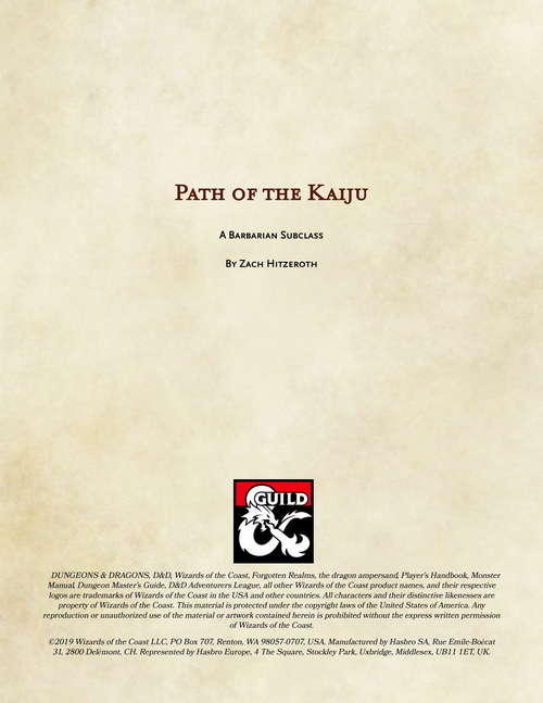 Barbarian: Path of the Kaiju - Dungeon Masters Guild