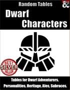 Dwarf Characters - Table Rolls