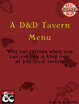 A D&D Tavern Menu