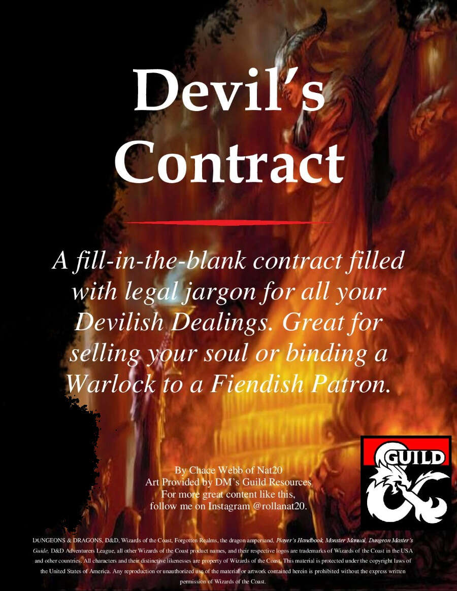 Nat20 - Devil's Contract - Dungeon Masters Guild | Dungeon