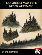 Stock Art Pack Filler Page Landscape Tree Bush Grass Shrubbery Vignette