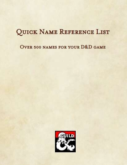 Quick Name Reference Lists - Dungeon Masters Guild | Dungeon Masters Guild