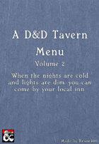 A D&D Tavern Menu - A Poor Man's Menu- Volume 2