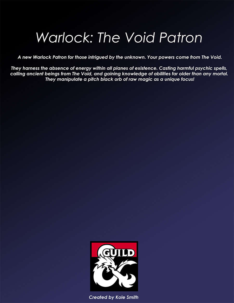 Warlock: The Void Patron (5e) - Dungeon Masters Guild | Dungeon Masters  Guild