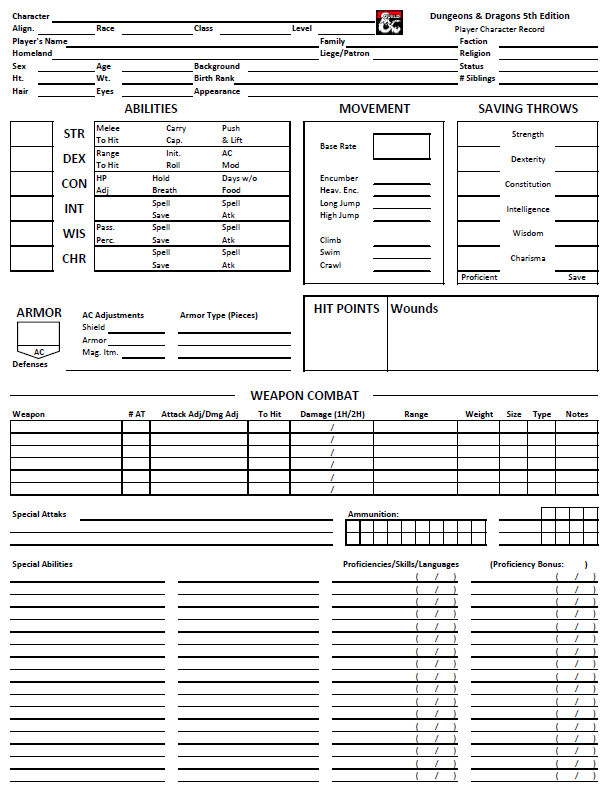 Ad D Style 5e Character Sheet Dungeon Masters Guild Dungeon Masters Guild