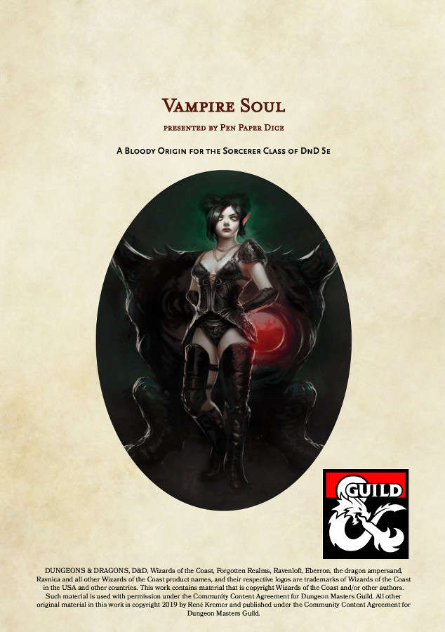 Vampire Soul Sorcerer Dungeon Masters Guild Dungeon Masters Guild Download files and build them with your 3d printer, laser cutter, or cnc. usd