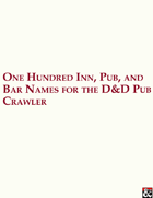 One Hundred Inn, Pub, and Bar Names for the D&D Pub Crawler