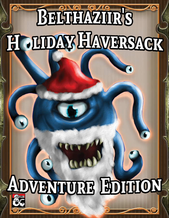 A blue beholder with a white beard and a red and white-trimmed hat
