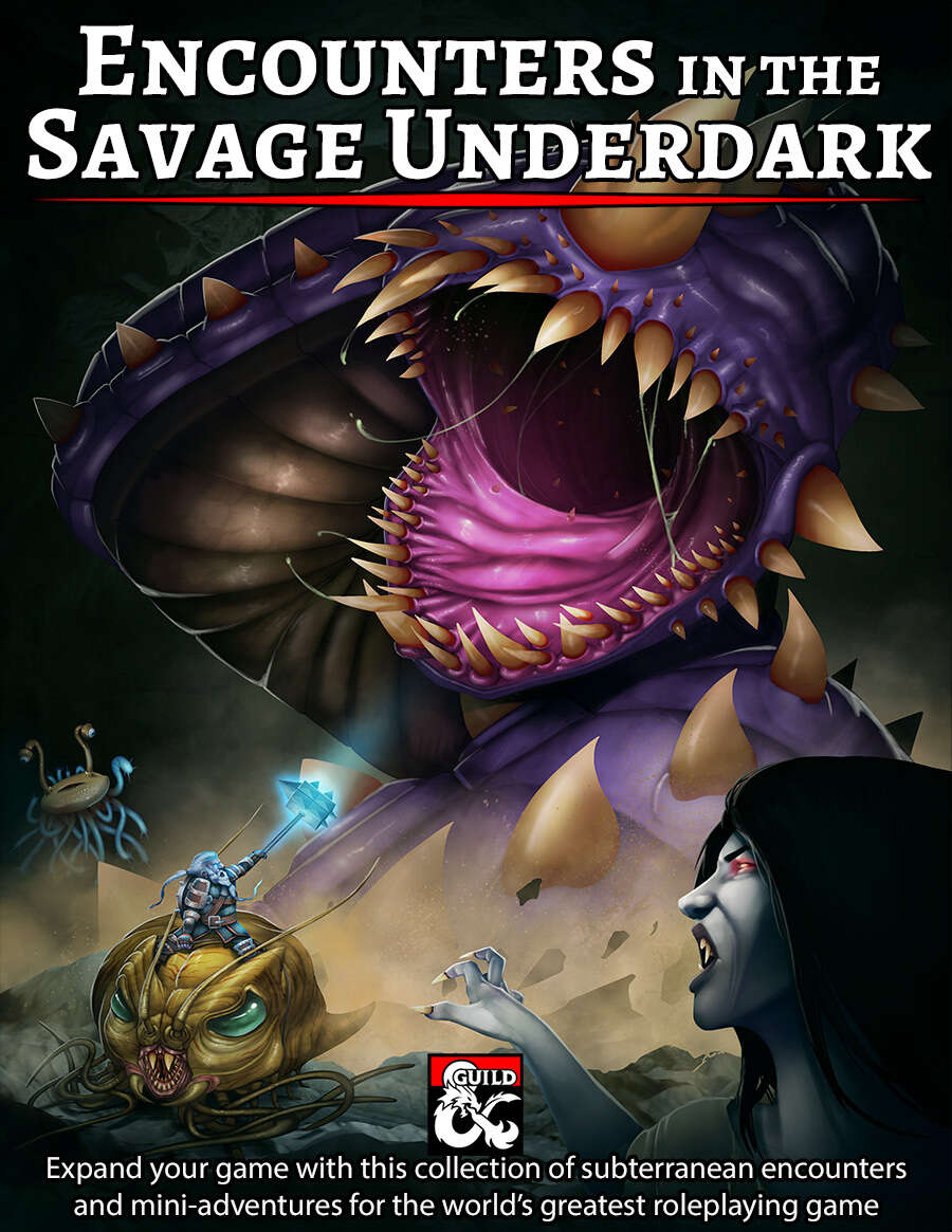 Cover of Encounters in the Savage Underdark features a Purple Worm, Duergar Crawler Commando
