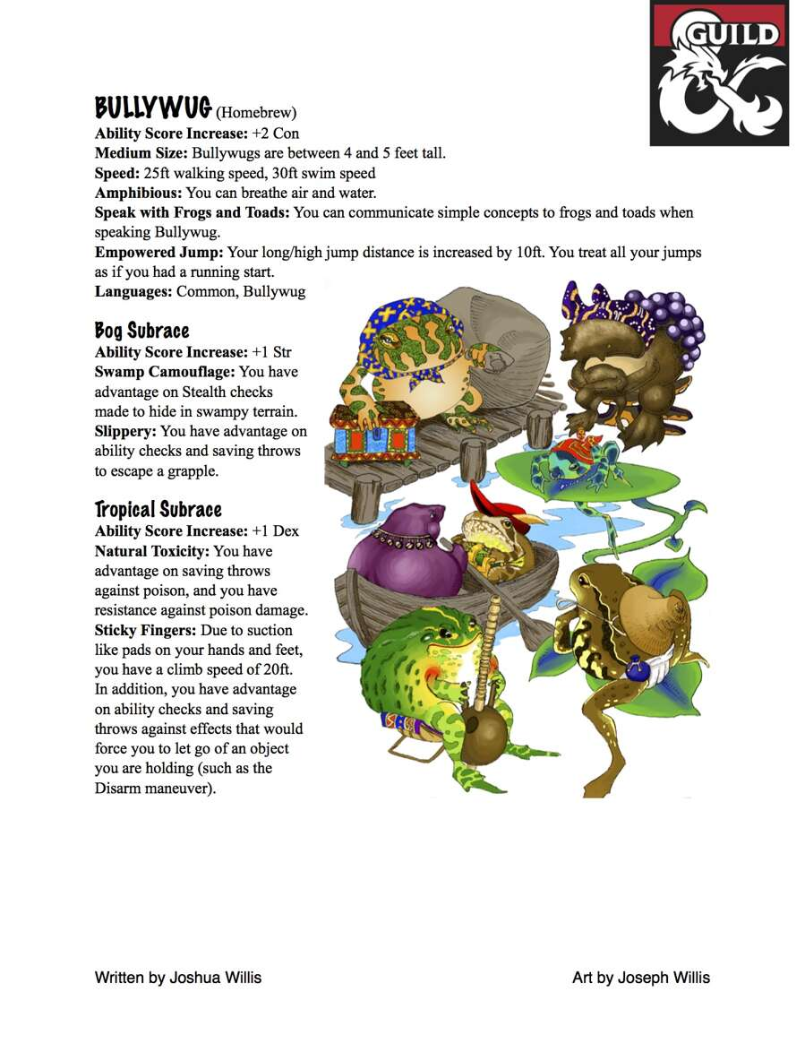 Bullywug Homebrew Race 5e Dungeon Masters Guild Dungeon Masters Guild