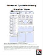 Enhanced Dyslexia-Friendly Character Sheet w/NPC: Jenna the Combat Librarian