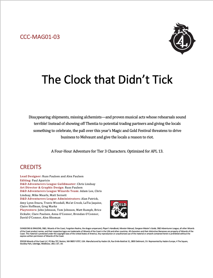 Cover of CCC-MAG01-03 The Clock that Didn't Tick