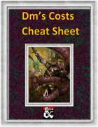 DM's Costs Cheat Sheet