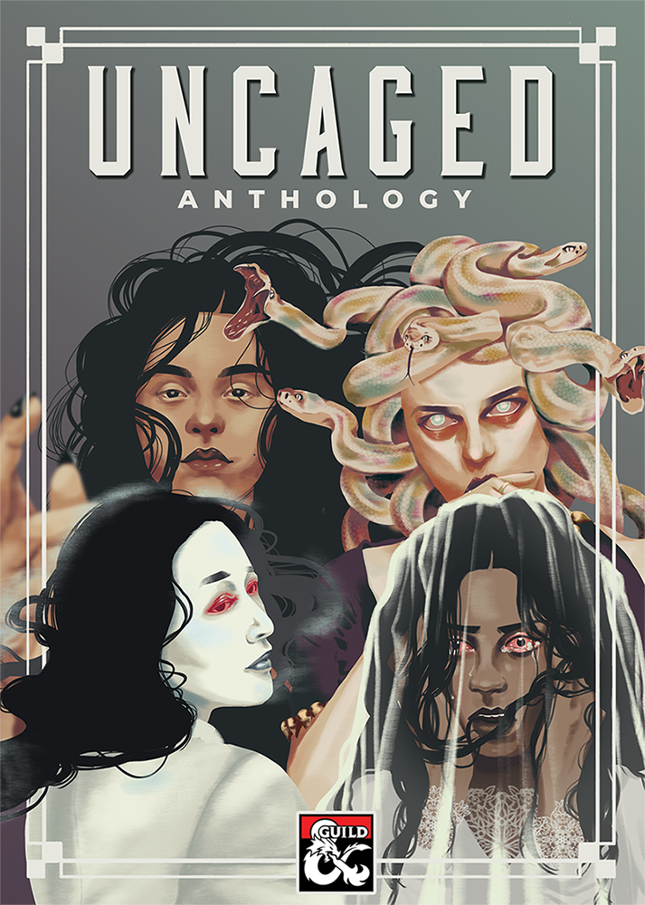 All four covers of the Uncaged Anthology. The headline reads UNCAGED ANTHOLOGY