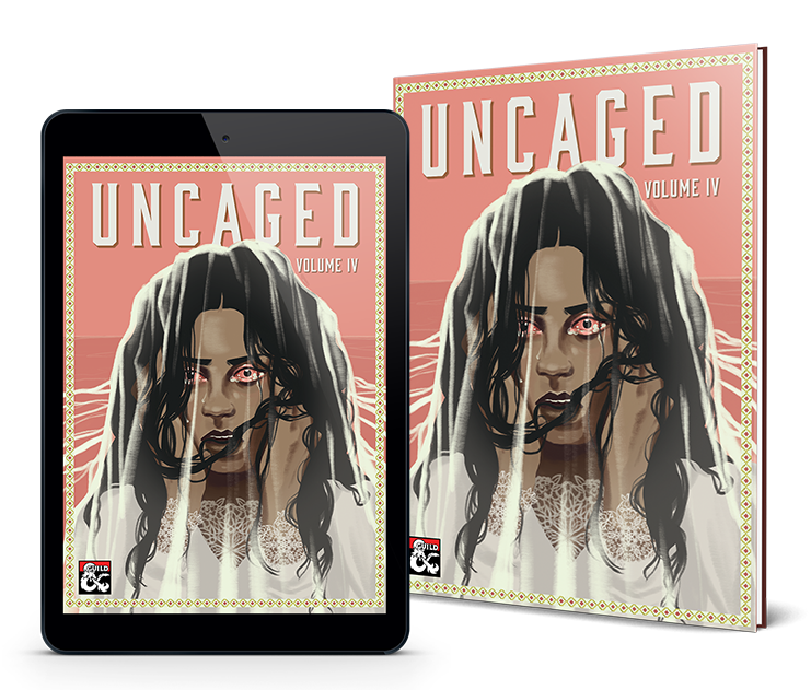 The cover of Uncaged volume 4 depicts a woman clutching her face. Her mouth is open and her eyes are bloodshot. Her black hair is strung across her face.