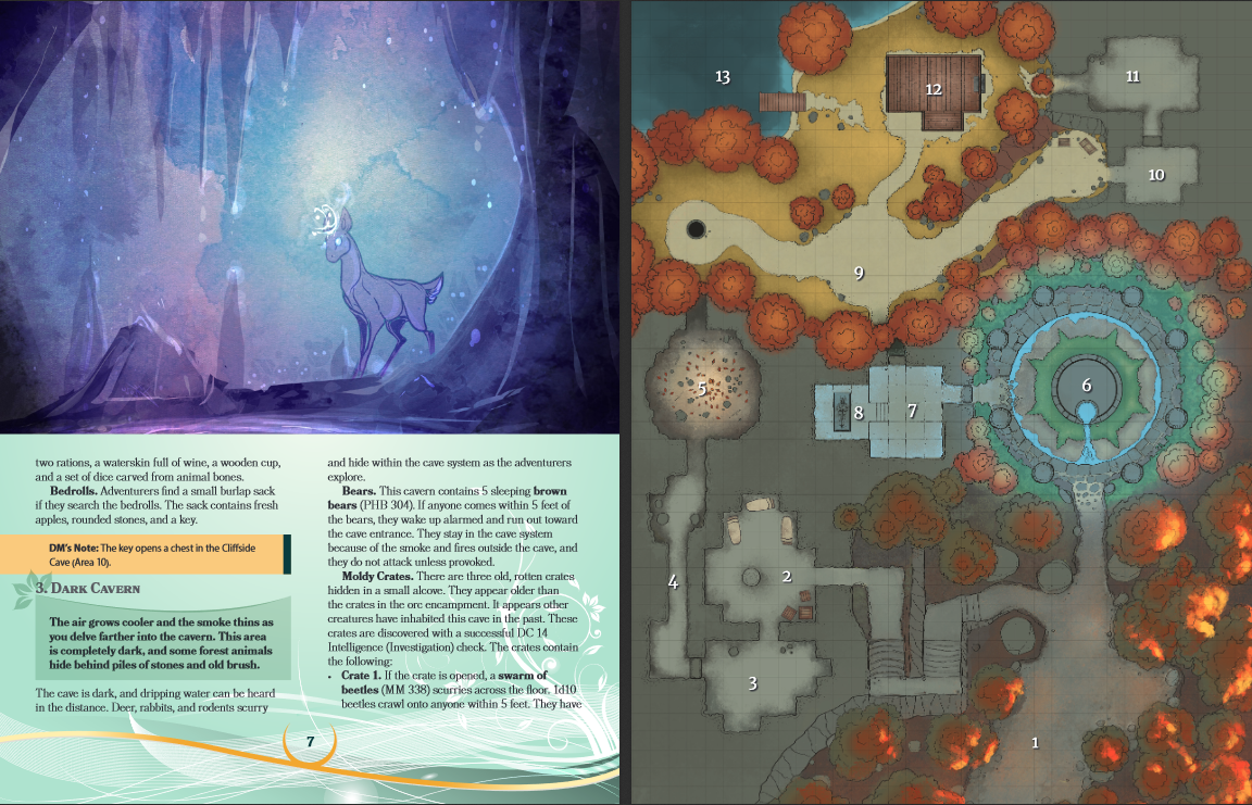 Layout sample. Shimmering deer in a cavern and a map of the burning forest.