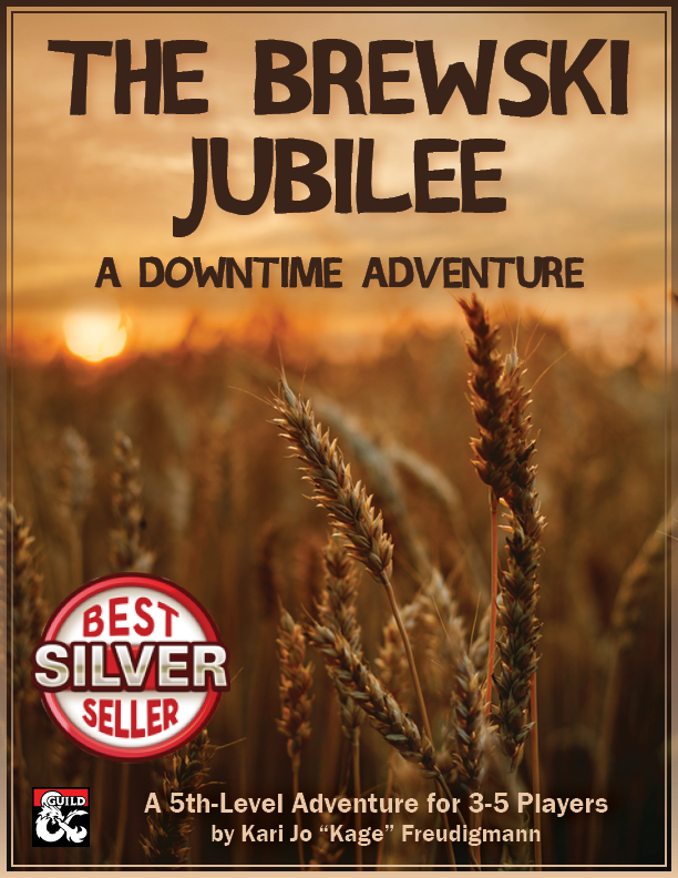 Cover image with a wheat field and the title, subtitle, author information, DMs Guild logo, and Copper best seller logo overlaying it.